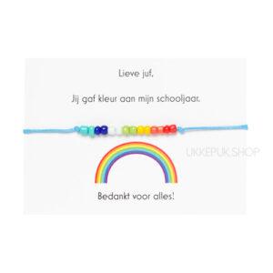 afscheid-bedankt-juf-corona-bedankjes-armband-schooljaar-bedank-lerares-juffrouw-leidster-kinderdagverblijf-cadeau-regenboog-blauw