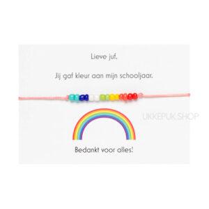 afscheid-bedankt-juf-corona-bedankjes-armband-schooljaar-bedank-lerares-juffrouw-leidster-kinderdagverblijf-cadeau-regenboog-roze