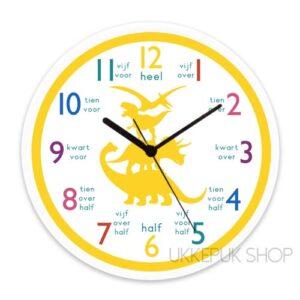 anologe-klok-kijken-oefenen-leren-klokkijken-dino-dinosaurus-geel