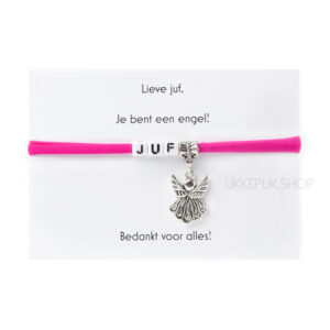 armband-juf-engel-bedankt-cadeau-kado-school-schooljaar-einde-bedankt-afscheidscadeau-kinderdagverblijf-juffrouw-lerares-armbandje-fuchsia-roze