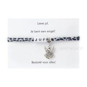 armband-juf-engel-bedankt-cadeau-kado-school-schooljaar-einde-bedankt-afscheidscadeau-kinderdagverblijf-juffrouw-lerares-armbandje-giraf-zwart-wit