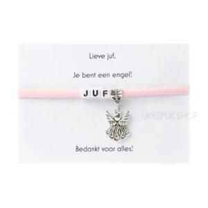 armband-juf-engel-bedankt-cadeau-kado-school-schooljaar-einde-bedankt-afscheidscadeau-kinderdagverblijf-juffrouw-lerares-armbandje-lichtroze