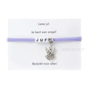 armband-juf-engel-bedankt-cadeau-kado-school-schooljaar-einde-bedankt-afscheidscadeau-kinderdagverblijf-juffrouw-lerares-armbandje-paars