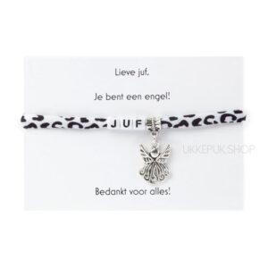 armband-juf-engel-bedankt-cadeau-kado-school-schooljaar-einde-bedankt-afscheidscadeau-kinderdagverblijf-juffrouw-lerares-armbandje-panter-zwart-wit