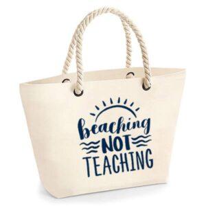 bedankt-juf-tas-strand-vakantie-beach-afscheid-schooljaar-einde-basisschool-leerkracht-juffen-lerares-leerkracht-ecru-navy