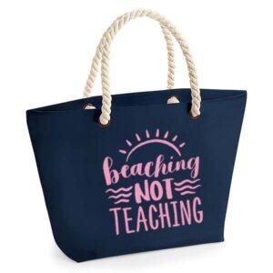 bedankt-juf-tas-strand-vakantie-beach-afscheid-schooljaar-einde-basisschool-leerkracht-juffen-lerares-leerkracht-navy-baby-pink
