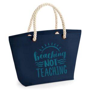 bedankt-juf-tas-strand-vakantie-beach-afscheid-schooljaar-einde-basisschool-leerkracht-juffen-lerares-leerkracht-navy-turqouise