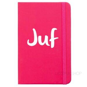 cadeau-juf-juffrouw-kerst-verjaardag-afscheid-juffendag-meester-leerkracht-lerares-schooljaar-notitieboek-juf-roze