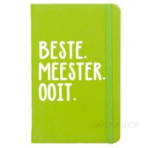 cadeau-juf-kerst-verjaardag-afscheid-juffendag-meester-leerkracht-lerares-schooljaar-notitieboek-beste-meester-ooit-groen