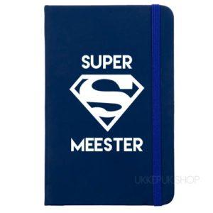 cadeau-juf-kerst-verjaardag-afscheid-juffendag-meester-leerkracht-lerares-schooljaar-notitieboek-super-meester-donkerblauw