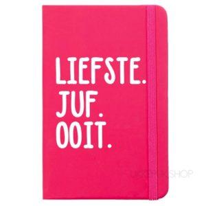 cadeau-juf-kerst-verjaardag-afscheid-juffendag-opvang-kinderdagverblijf-peuterspeelzaal-meester-leerkracht-lerares-schooljaar-notitieboek-liefste-juf-ooit-roze