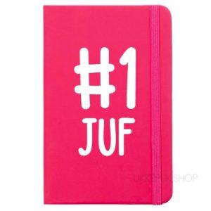 cadeau-juf-kerst-verjaardag-afscheid-juffendag-opvang-kinderdagverblijf-peuterspeelzaal-meester-leerkracht-lerares-schooljaar-notitieboek-nummer-1-juf-roze