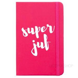 cadeau-juf-kerst-verjaardag-afscheid-juffendag-opvang-kinderdagverblijf-peuterspeelzaal-meester-leerkracht-lerares-schooljaar-notitieboek-super-juf-roze