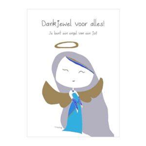 kaart-engel-juf-bedankt-dankjewel-lerares-juffendag-afscheid-einde-schooljaar-school-kinderdagverblijf-leidster-angel