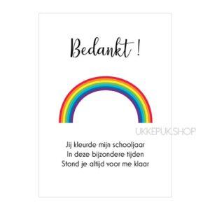 kaart-juf-kleurde-schooljaar-bedankt-regenboog-school-kinderdagverblijf-afscheid-onderwijsassistent-meester-leraar-leerkracht