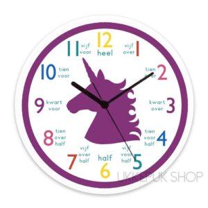 klok-kijken-leren-klokkijken-oefenen-klok-kijken-eenhoorn-unicorn-paars