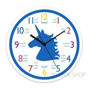 klok-leren-lezen-oefenen-klokkijken-groep-3-klok-kijken-eenhoorn-unicorn-blauw