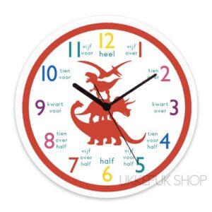 klok-leren-oefenen-klokkijken-klok-kijken-dino-dinosaurus-rood