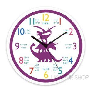 klok-om-te-leren-klokkijken-oefenen-klok-kijken-dino-dinosaurus-paars