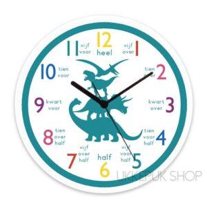 leren-klokkijken-anologe-klok-oefenen-groep-3-dino-dinosaurus-groen