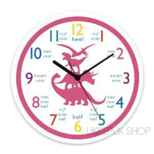 leren-klokkijken-groep-3-oefeningen-klok-lezen-kijken-school-groep-4-dino-dinosaurus-roze