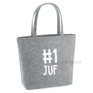 vilten-tas-bedrukt-juf-nummer-1-big-shopper-boodschappen-boodschappentas-lichtgrijs